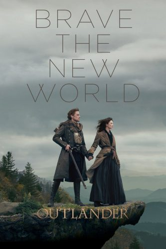 Claire & Jamie from Outlander, Season 4. They're clad in frontier garb and are standing on rocks with a forest in the background.