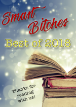 Smart Bitches Best of 2018 graphic - a stack of books against a sparkly lit background and at the bottom it says thanks for reading with us!