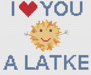 I love you a Latke cross stitch pattern with a small latke with a smiley face and outstretched arms
