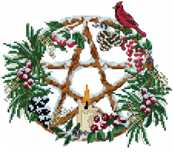 pagan yule cross stitch pattern with a star, a cardinal, a candle, greenery and snow
