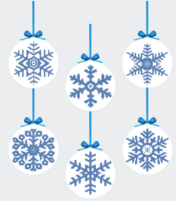 Snowflake ornament patterns of six different snowflake shapes