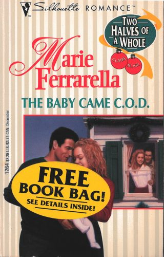 An old striped category romance cover. One couple in the foreground is embracing and there's another in the background. The background couple is hugging in front of a house window. There's a sticker on the cover the says you can get a free book bag.
