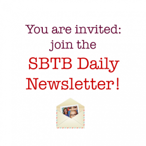 You are invited - Join the SBTB Daily Newsletter! At the bottom is a small international border envelope with a picture of the Ladies inside