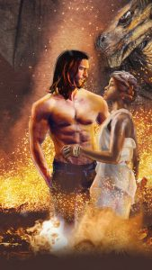 A shirtless man with long hair standing in ome water that might be on fire with a dragon behind him. beside him is a woman with light brown skin and braided hair looking up at him her hand resting on his abdomen