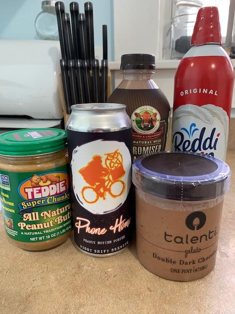 Ingredients for a chocolate peanut butter milkshake