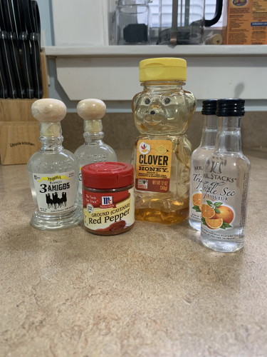 Ingredients for a spicy honey margarita