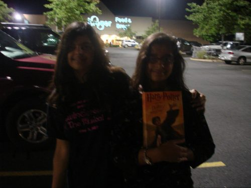 Aarya and her sister at a Harry Potter book launch