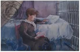 watercolored postcard of Fannie reading in her jail cell