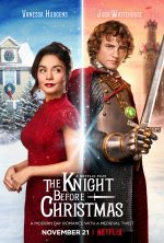 The Knight Before Christmas - Vanessa Hudgens in a . red lace dress standing back to back with a curly haired man in a suit of armor and impossibly sparkly jewels