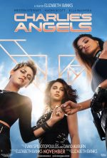 Charlie's Angels 2019 poster - Kristen Stewart and Ella Balinska fist bumping in front of naomi scott they are shot from below so they look tall and empowered