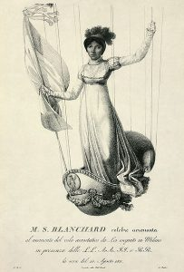 drawing of Sophie Blanchard in Balloon