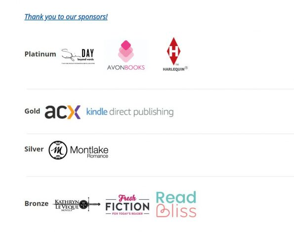 A screenshot of RWA 2019 sponsors reading platinum - Sylvia Day, Avon BOoks, Harlequin, Gold: ACX and Kindle Direct, Silver Montlake Publishing and bronze Kathryn Leveque, Fresh Fiction, and Read Bliss