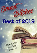 Smart Bitches Best of 2019 against a sparkly blue background above a stack of open books at the bottom it says Thanks for reading with us!