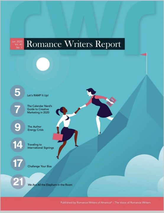 Cover of Jan 2020 RWR prior to change: a graphic image showing a white woman helping a woman of color climbing a mountain