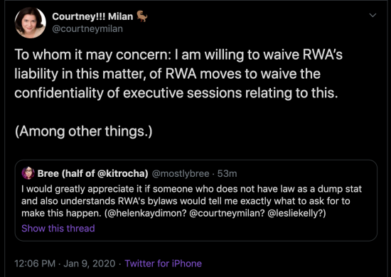 Tweet that says To whom it may concern: I am willing to waive RWA's liability in this matter, of RWA moves to waive the confidentiality of executive sessions relating to this. (Among other things.)