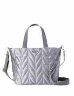 A grey fabric totebag with a quilted pattern and grey straps