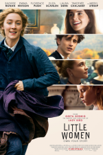 Little Women movie poster showing Saoirse Ronan running with snapshots of the other characters in bars across the side