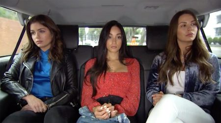 Hannah Ann, Victoria F and Kelley ride in a car looking miserable
