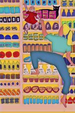 An illustration of a blonde lady climbing a convenience store shelf full of products like ARSENIC and GIN and BEE BALLS with a doll helping her out. A cat his behind the BEE BALLS packages watching them.