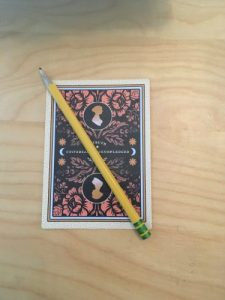 card with pencil to show scale - card is almost as long as pencil is