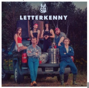 Letterkenny logo from Hulu with the cast sitting on and around a pickup truck