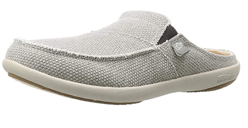 Spenco canvas slide with rubber sole and cork insole for arch support