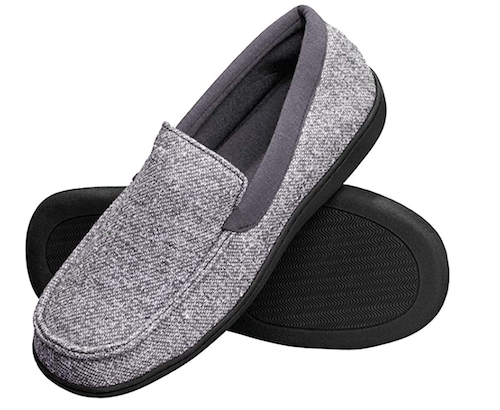 Hanes grey cloth memory foam moccasin slippers