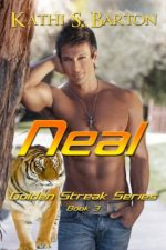 Neal by Kathi S. Barton. A smooth-bodied, shirtless man with low rise jeans is being stalked in the snow by a tiger