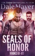 Seals of Honor by Dale Mayer. Three very similar looking men. The one in front is looking down at his crotch, while the other two are behind him looking concerned.