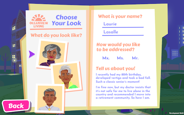 Screenshot from Later Daters where players choose their gender and name