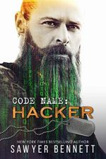 Code Name: Hacker by Sawyer Bennett. A man with a long beard looks super serious. His beard his glowing green and appears to be hacking into the Matrix.