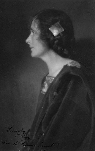 black and white profile photo of Anne Brigman as a young woman