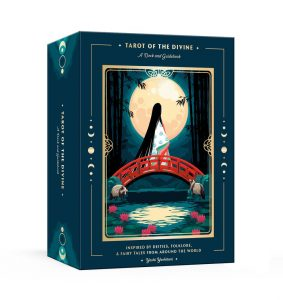 the box, showing a woman crossing a bridge under the full moon
