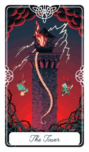 The Tower card shows Rapunzel and her prince falling from the tower