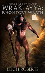 Wrak - Ayya by Leigh Roberts. A caveman stands in front of the opening to a cave. It looks like he's wearing underpants made of hair.