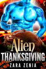 Alien Thanksgiving by Zara Zenia. A blue alien man stands before a barely cooked turkey and is resting on a bed of grapes.