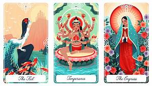 The Fool The Little Mermaid), Temperance (Bodhisattva Avalokitesvara), and The Empress (Our Lady of Guadalupe)