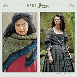 A knitting pattern for Claire's shawl next to a pic from the show