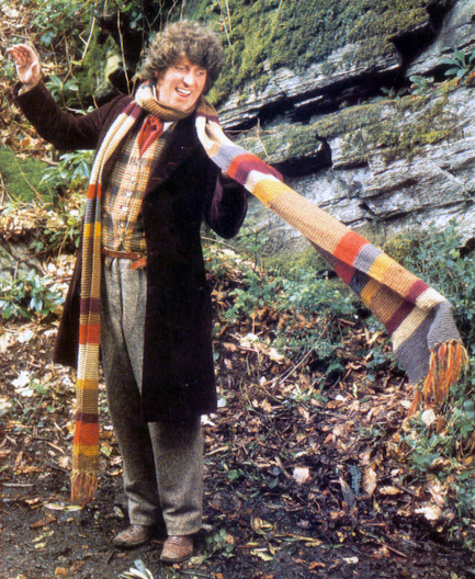 Tom Baker wears a very long striped scarf.