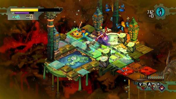 A screen image of the game play platform for Bastion with a board game some floating dice and beneath all of it is fire and a volcano