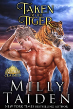 Taken by the Tiger by Milly Taiden. A tiger is leaping and looks like he's about to pounce onto a ripped blond man who is staring at his crotch.