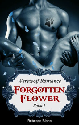Forgotten Flower by Rebecca Blanc. A shirtless man with a paw print tattoo on his pec is holding the noodly, naked body of a woman. The whole thing is in a shade of icy blue.