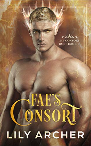 Fae's Consort by Lily Archer. A shirtless blonde man is squished onto this cover. Lightning crackles behind him, blending in with his bulging veins.