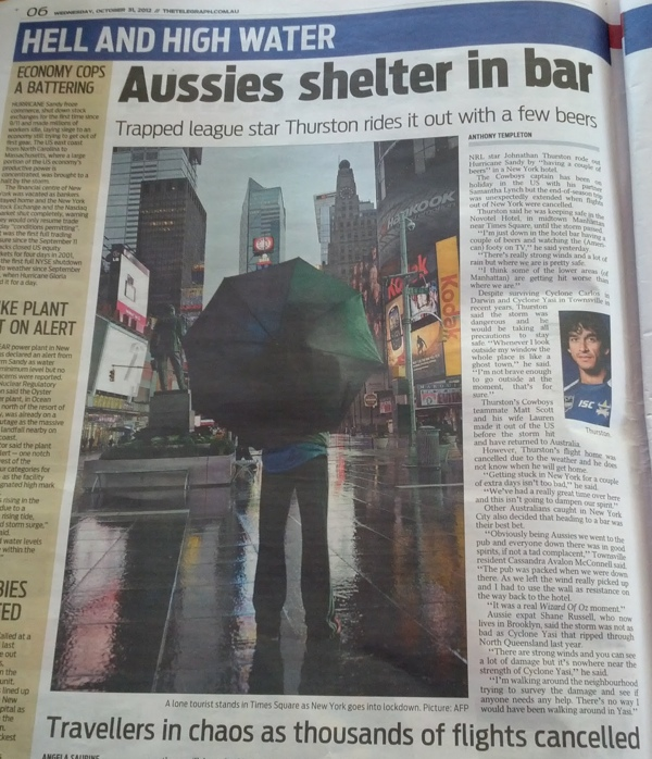 Headline from Australian Newspaper: Aussies Shelter in Bars