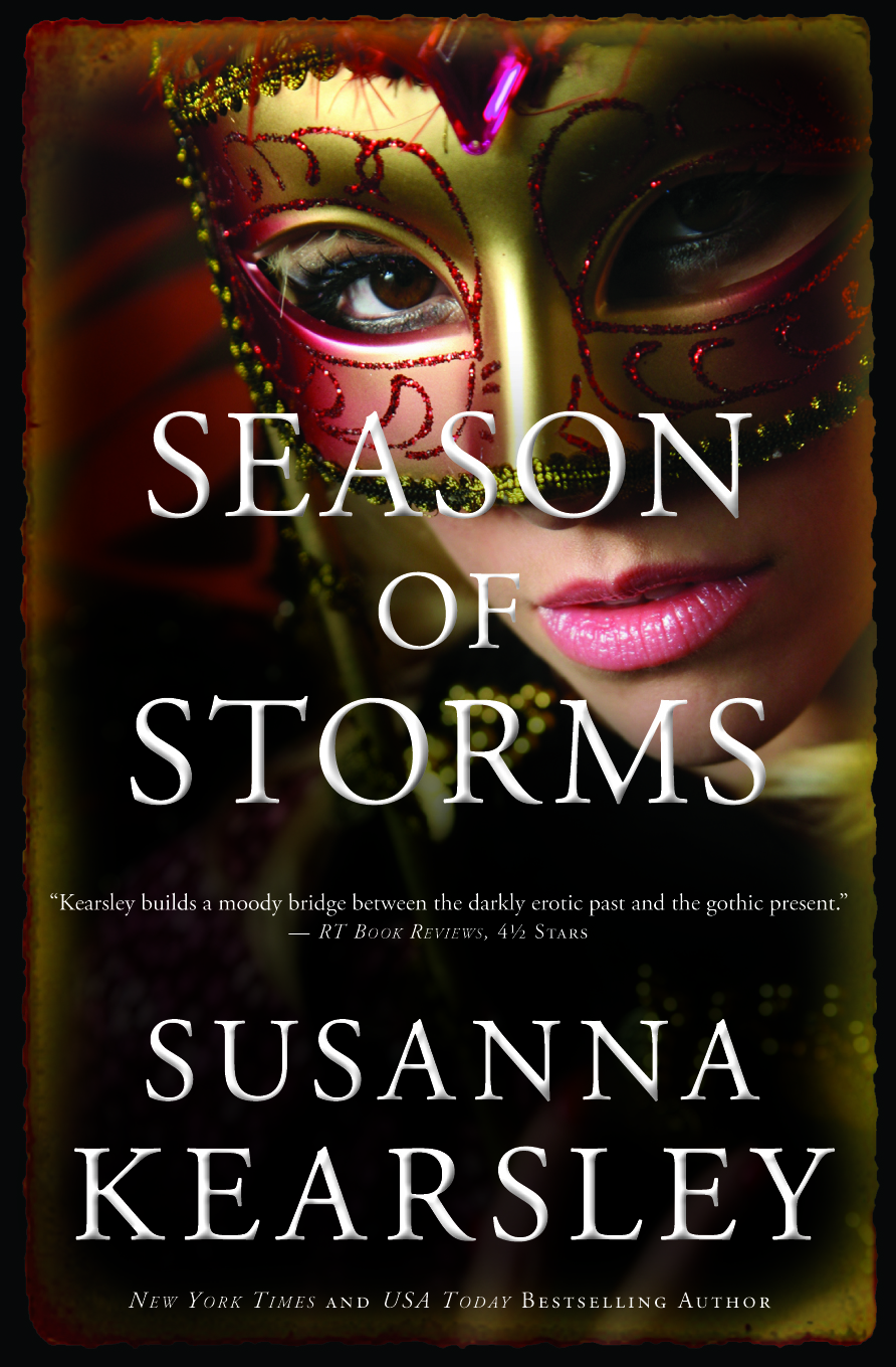 Season of Storms alternate cover close up on mask that's gold and red