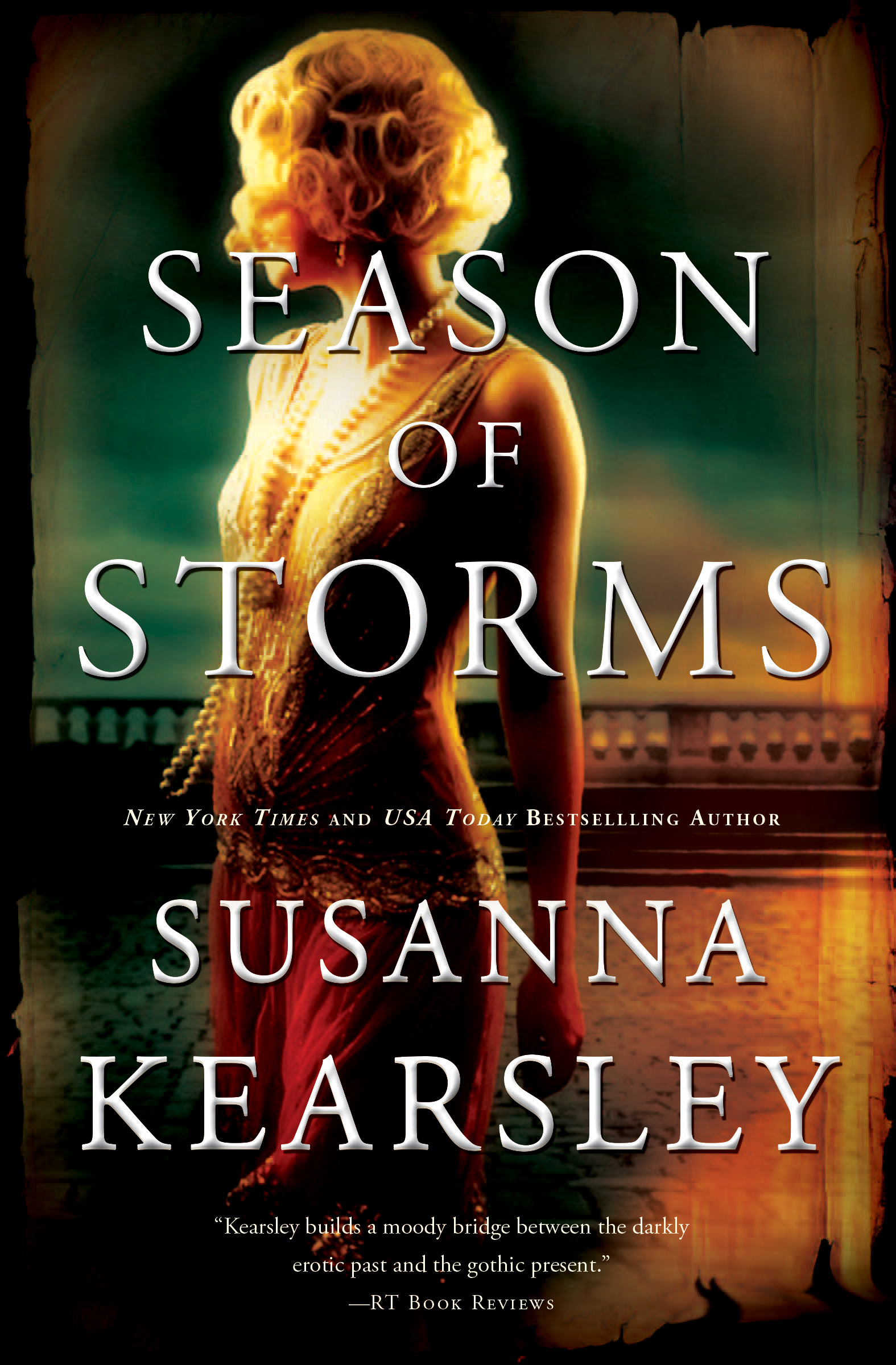 Season of Storms alternate cover - blonde woman in a flapper dress turned away from viewer
