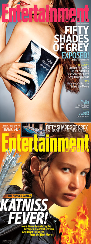 Two covers for EW, one with 50 Shades, the other with Hunger games