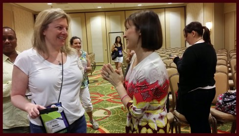 Lisa Kleypas meets attendees after her Q&A session.