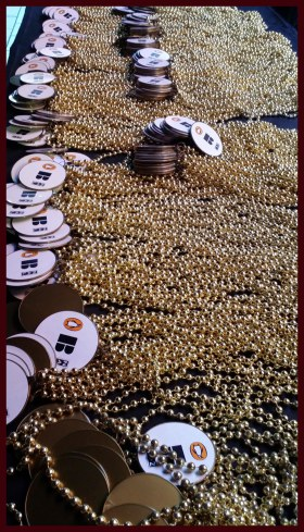 Table full of gold beads from Penguin berkley NAL