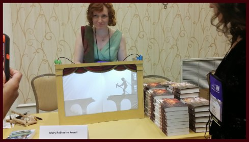 Mary Robinette Kowal had a light show at her signing table
